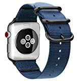 Fintie Band for Apple Watch 44mm 42mm, Lightweight Breathable Woven Nylon Sport Loop Wrist Strap with Metal Buckle Compatible with Apple Watch Series 4 Series 3 Series 2 Series 1 - Navy (Color: Navy Blue, Tamaño: 42mm/44mm)
