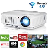 3600 Lumens Home Wireless Bluetooth LCD Video Projectors Android 6.0 WXGA LED Smart TV Projector Full HD 1080P Support Multimedia HDMI VGA RCA Audio USB AV for Gaming Movies Holiday Party Art Work (Color: HD Bluetooth Projector 3600 Lumens)