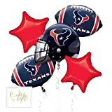 Andaz Press Balloon Bouquet Party Kit with Gold Cards & Gifts Sign, Texans Football Themed Foil Mylar Balloon Decorations, 1-Set (Color: Sports Texans)