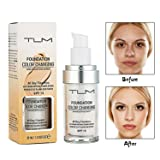 Concealer Cover, Turelifes Flawless Colour Changing Warm Skin Tone Foundation Makeup Base Nude Face Liquid Cover Concealer for Women All Day Flawless