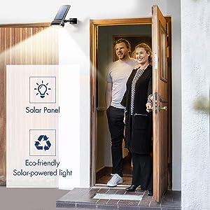 Solar Motion Sensor Light, Sunix Solar Security Light IP65 Waterproof Outdoor Solar Wall Light, Bright Security Lights - 16 LEDs Wireless for Patio, Deck, Yard, Garden 1 Pack (Color: Black, Tamaño: 1 Piece)