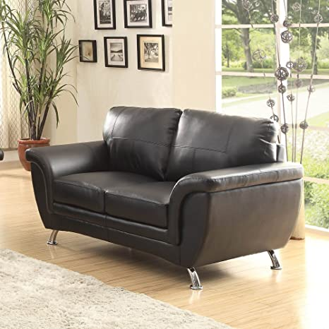 Homelegance Chaska Loveseat in Black Leather