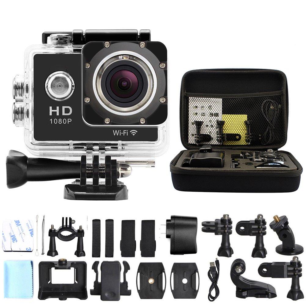 ANART® SPC-01-M W8 12MP Wifi 1080P Waterproof Helmet Sports Camera with Medium Shockproof Storge Bag Black