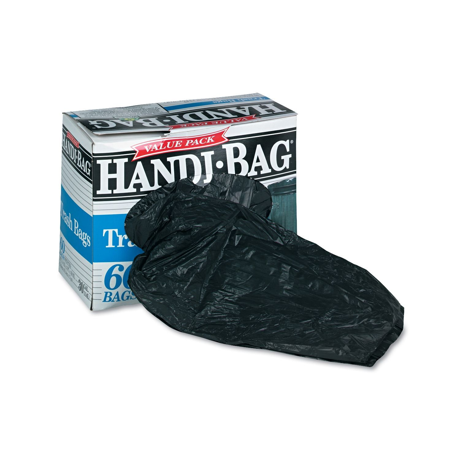 Handi-Bag - Super Value Pack Trash Bags, 30gal, .69mil, 36 x 29.5, Black - 60/Box валик механический handi roller wagner 407002