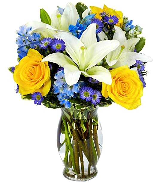 From You Flowers | Flower Delivery | Bright Blue Skies Bouquet | Free Vase Included