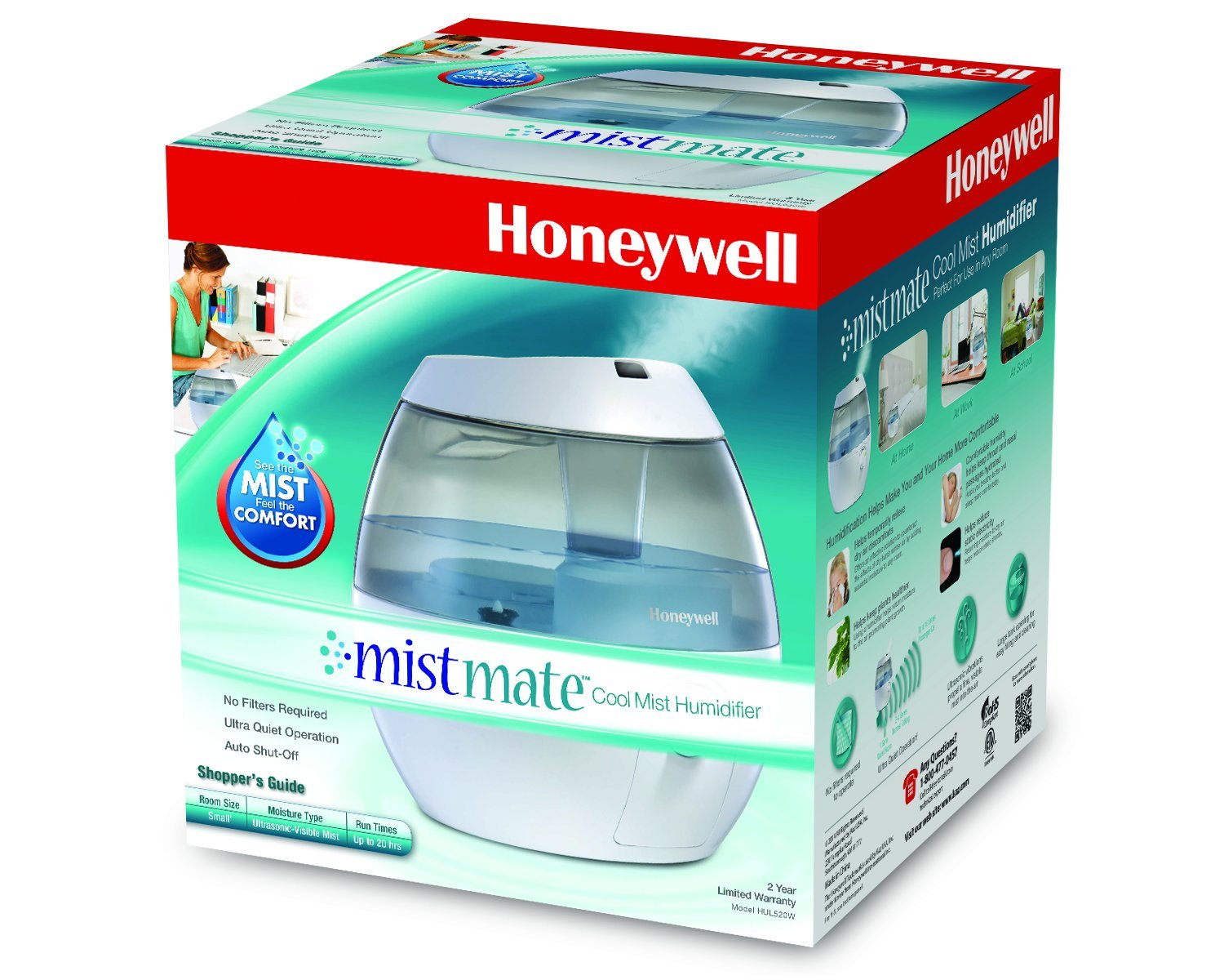 Mistmate Cool Mist Humidifier. No filter required. Ultra quiet  #C60705
