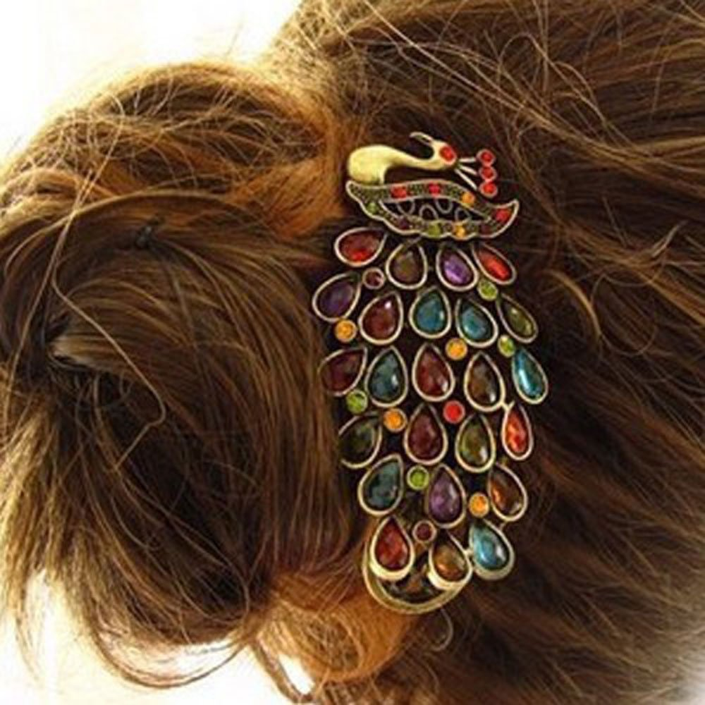 Vintage-Look Jewelry Crystal Peacock Hair Clip