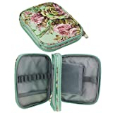 KOKNIT Crochet Hook Case, Zipper Storage Organizer Bag with Web Pockets for Crochet Needles/Knitting Accessories/Crochet Hook Kit Tools, Lightweight, Easy to Hold - Without Hooks and Accessories (Color: flower green case)