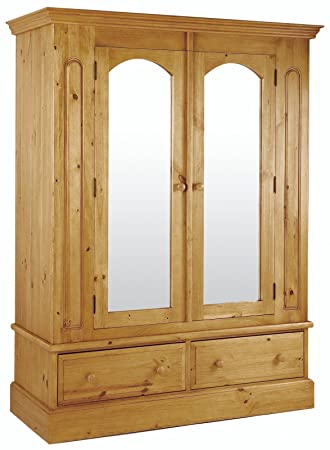 CALLINGTON SOLID WARM PINE DOUBLE WARDROBE WITH MIRRORED DOORS