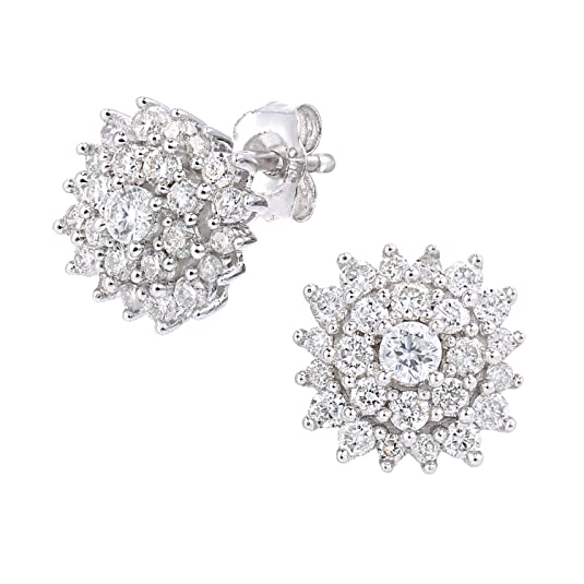 Naava 9ct White Gold 0.60ct Diamond Cluster Earrings