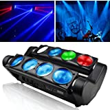Betopper DJ Stage Light 8x8W Super Bright RGBW Disco LED Moving Head Lighting for Concert,Party,Stage,Restaurant etc. (Color: BTLM80-US)