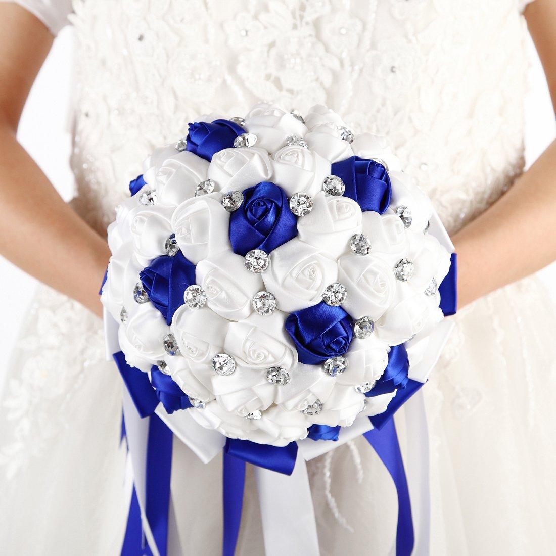 FAYBOX Crystal Satin Rose Bridal Bridesmaid Bouquets Wedding Flower Decor Royal Blue 2