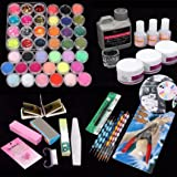 LtrottedJ 42 Acrylic Nail Art Tips Powder Liquid Brush Glitter Clipper Primer File Set Kit