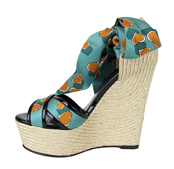 230362a4864 Gucci Women s Turquoise Heartbeat Satin Carolina Wedge Sandals 338686 3178 (9.5  US   39.5 G) (Color  Turquoise