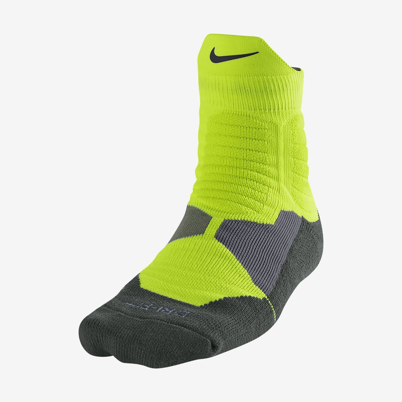 Nike Hyper Elite Basketball High Quarter Socks Large (Volt/Deep Green/Iron Green) чулок д щитков nike guard lock elite sleeve su12 se0173 011 m чёрный