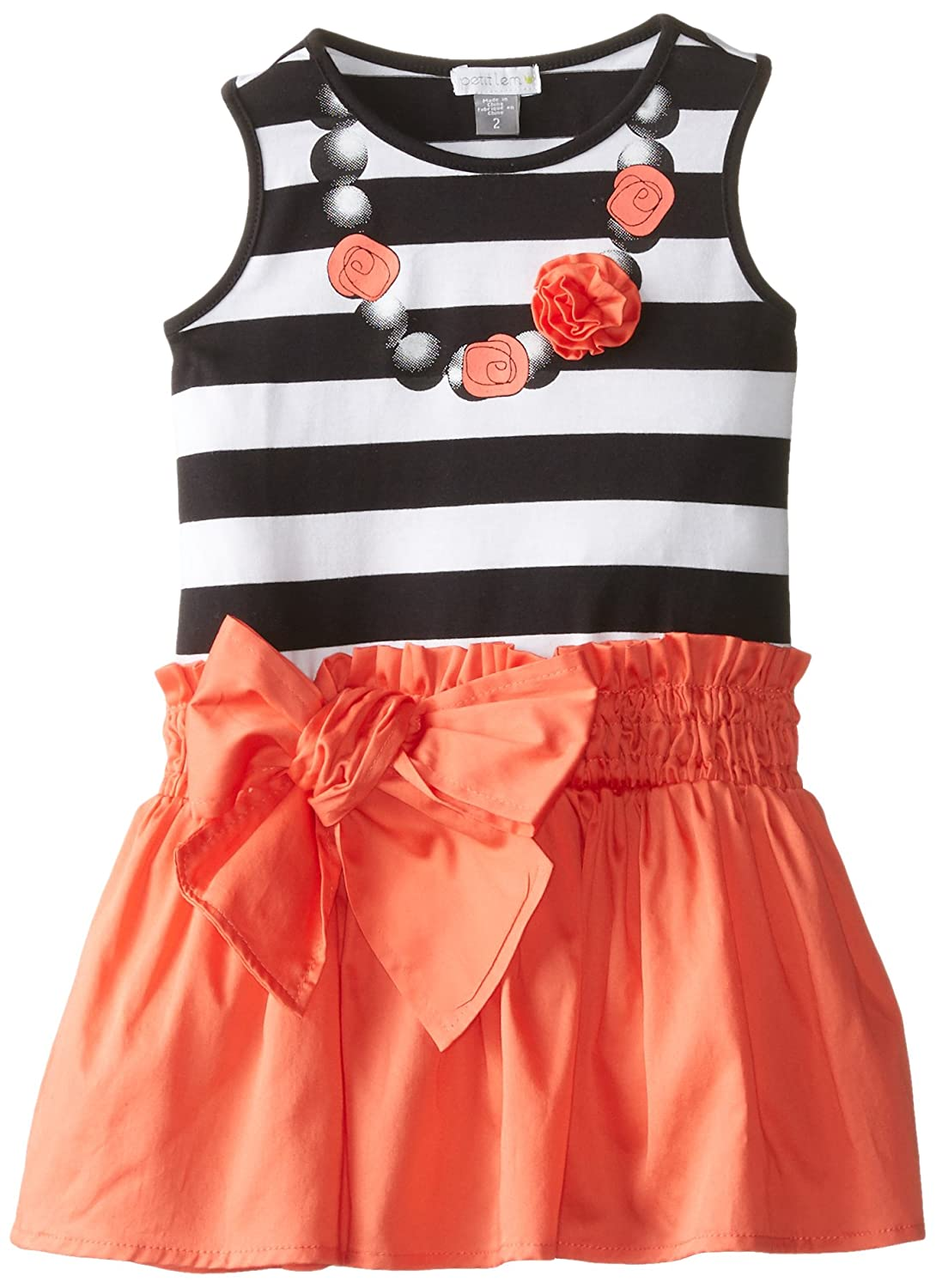 Petit Lem Little Girls' Rose Neckline Mixed Fabric Dress