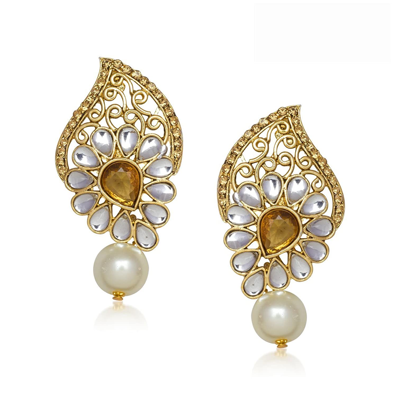 Jewellery Gold Plated Kundan Earrings for women Fancy Party Wear Pearl Daimond Ear rings For girls Jewellery set - T305 By Amazon @ Rs.134