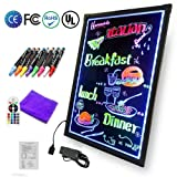 Art Glow LED Writing Board Electronic Writing Tablet Drawing Board Illuminated Erasable Neon Painting Sign Board Kids Doodle Board with Remote Control, 8 Highlighter