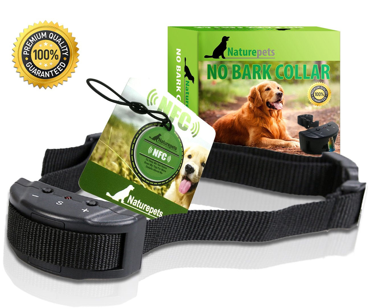 Advanced No-bark Collar By Naturepets - No-harm Dog Training Collar with 7 Sensitivity Adjustable Levels - NFC Dog Tag and Ebook Included As Bonus Gifts - Perfect Christmas Gift - Money Back Guarantee