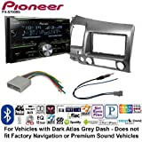 Pioneer Double DIN CD Receiver Built-in Bluetooth, and SiriusXM-Ready Car Radio Stereo Single Double Din Dash Kit Harness Antenna for 2006-2011 Honda Civic