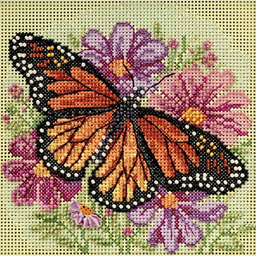Winged Monarch Butterfly Beaded Counted Cross Stitch Kit Mill Hill 2015 Buttons & Beads Spring