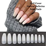 Coffin Nails 500pcs Half Cover Acrylic False Nail Tips Coffin Ballerina Nails 10 Sizes With Bag for Nail Salons and DIY Manicure (Half Cover, Natural) (Color: Natural, Tamaño: Half Cover)