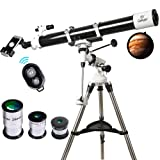 Telescope, 90mm Astronomy Refractor Telescopes with Smartphone Adapter & Bluetooth Camera Remote - Perfect for Children Educational and Gift (Tamaño: EQ901000)