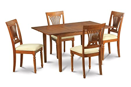 East West Furniture MLPL7-SBR-C 7-Piece Kitchen/Dinette Table Set