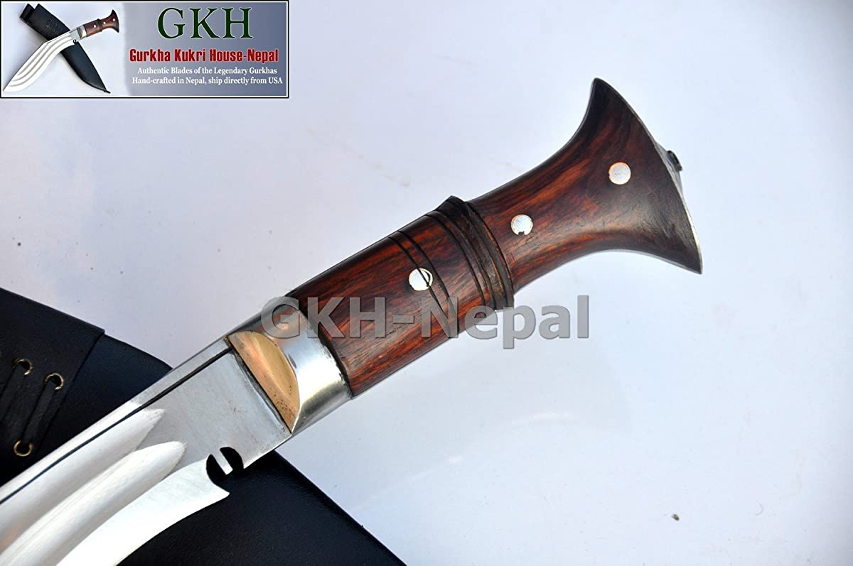"Authentic Gurkha Kukri Knife - 12"" Blade Tin Chirra (3 Fullers) the Beast Kukri, Handmade from Gurkha Kukri House- Handmade in Nepal by GKH-Nepal imported by Gope Corp."