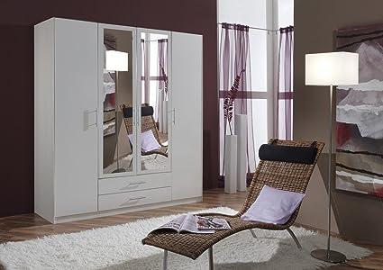 Dreams4Home Drehturenschrank 'Isa XL, Schlafzimmer, Schrank, weiß, Kleiderschrank, 2 Spiegel, Spiegelschrank