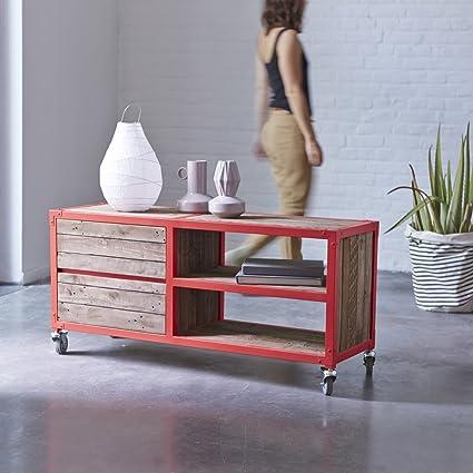 TV Schrank Lowboard aus rot gestrichenem Metall urban style 120 cm
