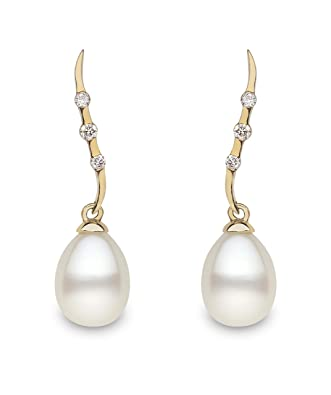Kimura Pearls 7.5-8.0mm White Drop Shape AA Quality Cultured Fresh Water Pearl and Diamond Drop Earrings 9 Carat