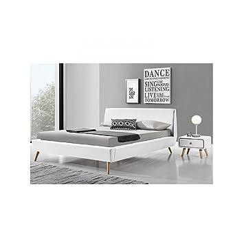 Gallina: marco de cama de piel sintética color blanco y sommier140X 190cm