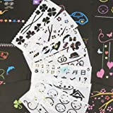 Drawing and Painting Stencils,Drawing Stencils for Kids,16PCS Stencils for Planner/Bullet Journals,Face/Rock/Wood Painting,Card Making,Scrapbooking (Color: White, Tamaño: 7.8