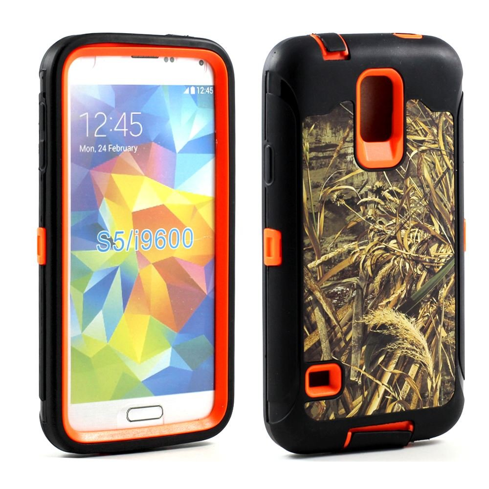 Heavy Duty Armor Hunter Camouflage Camo Hard Rugged Protecive Weather and Water Resistant with Built In Screen Protector Case Cover for Samsung Galaxy S5 i9600 tire style tough rugged dual layer hybrid hard kickstand duty armor case for samsung galaxy tab a 10 1 2016 t580 tablet cover