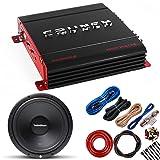 Crunch PX1000.2 1000W POWERX Series 2-Channel Amplifier + R1S4-12 12-Inch 400W Subwoofer + Amp Kit