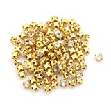 Queenbox 100Pcs Super Mini Doll Handmade Crystal Rhinestone Buttons Doll Dress Accessories Decorative Buckle (Color: Gold, Tamaño: 3mm)
