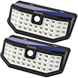 New Upgraded 36 LED Solar Lights with Wide Angle Illumination,Outdoor Motion Sensor Waterproof Wall Light Wireless Security Night Light with 3 Modes for Driveway Garden Step Stair Fence Deck 2pack (Color: White, Tamaño: 2 Pack)