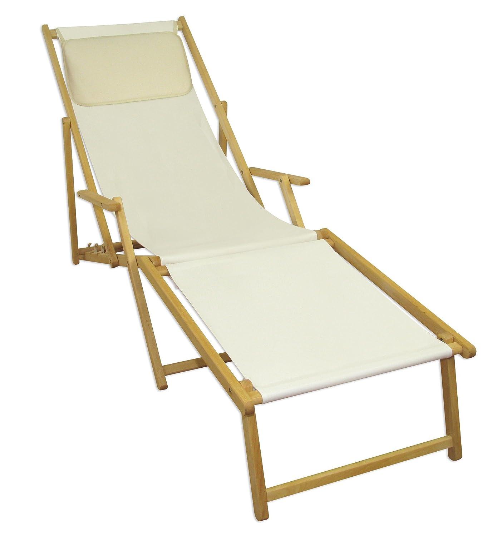 Sonnenliege Gartenliege Deckchair Saunaliege inkl. abnehmbarem Fußteil Beige