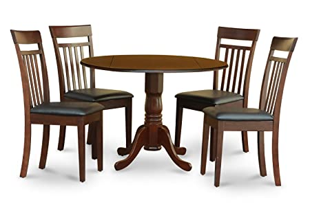 East West Furniture DLCA5-MAH-LC 5-Piece Kitchen Table Set