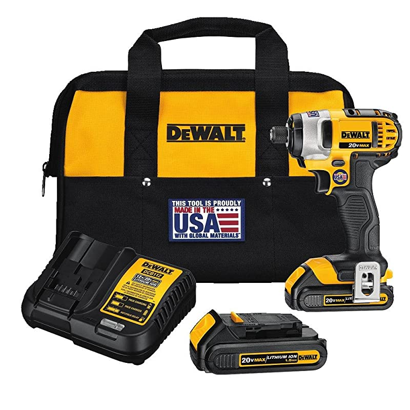 DEWALT DCF885C2 20-Volt MAX Lithium Ion 1/4-Inch 1.5 Ah Impact Driver Kit via Amazon