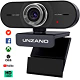 Unzano Webcam for Streaming HD 1080P - Computer Camera PC Laptop Mac Web Cam with Microphone for Gaming, Video Calling, Recording, Conferencing/Dual Mic, USB Plug & Play, 306 Degree Rotatable
