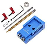 Pocket Hole Jig Kit System with Accessories And Step Drilling Bit Repair Carpenter Kit, Blue