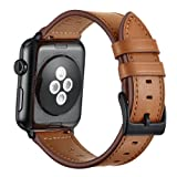 Compatible with Apple Watch (Including series4) 42mm 44mm, Unique Vintage Brown Genuine Leather Replacement Watch Strap for iWatch Series 4, 3, 2, 1, Nike+ Edition iWatch Loop (Color: Brown with Brown thread, Tamaño: 42mm, 44mm)