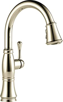Delta Faucet 9197-PN-DST Single Handle Pull-Down Kitchen Faucet, Polished Nickel