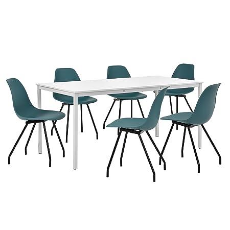 [en.casa] Hochwertiger Esstisch in weiß mit 6 turkisen Designer-Stuhlen - 160cm x 80cm