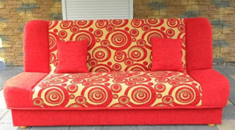 Red Sofa Bed Maddy with bedding place and 'clic-clak' mechanism. Any colors