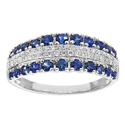 Naava 9 ct White Gold Multi Row Diamond and Sapphire Eternity Ring - Size O