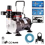 GWELL Airbrush Kit Air Compressor Set w/Cleaning Kit 3 Guns 0.2mm 0.3mm for Paint Cake Tattoo Model Hobby Painting