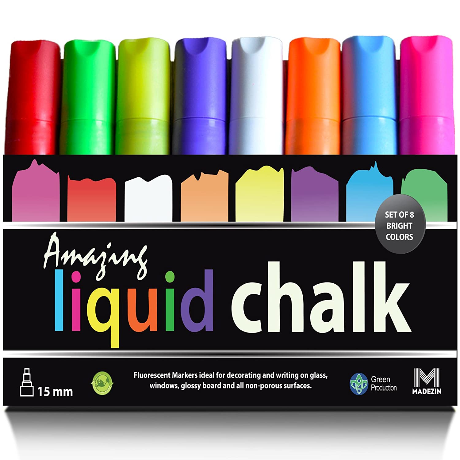 Amazing Liquid Chalk Markers 8 PACK Jumbo 3 in 1 Tip 15mm for Biggest & Boldest Lines Attract More